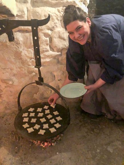 Valerie bakes cheese scones in the hearth - Photo from Sue Owens v2