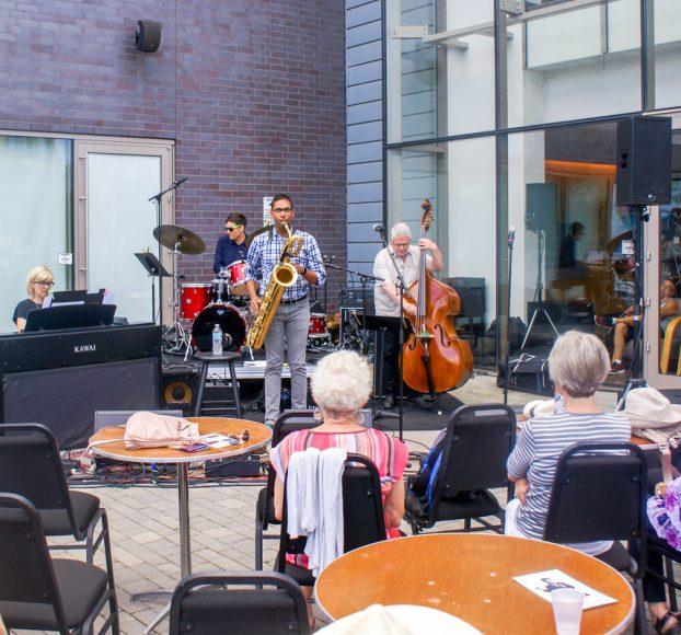 The Shirantha Beddage Quartet jazzing it up at the Burlington Performing Arts plaza.