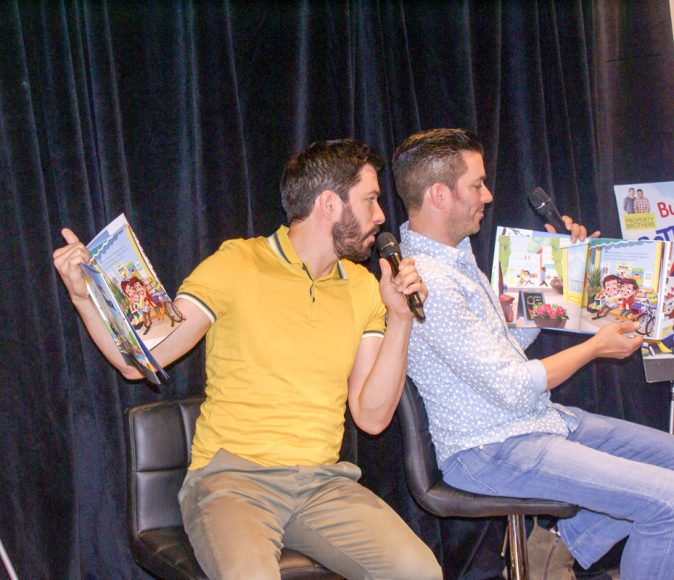 The brothers take turns reading their latest story