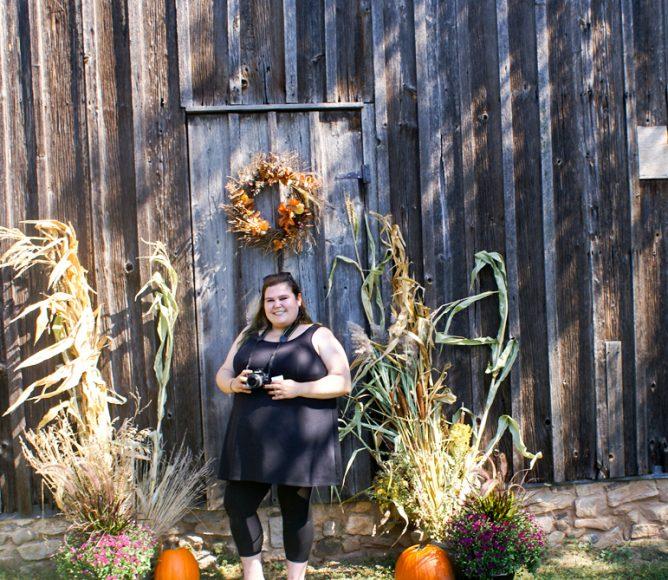 Stevie by the barn door