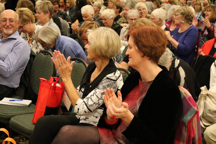 Emma Donoghue and Charlotte Gray clapping