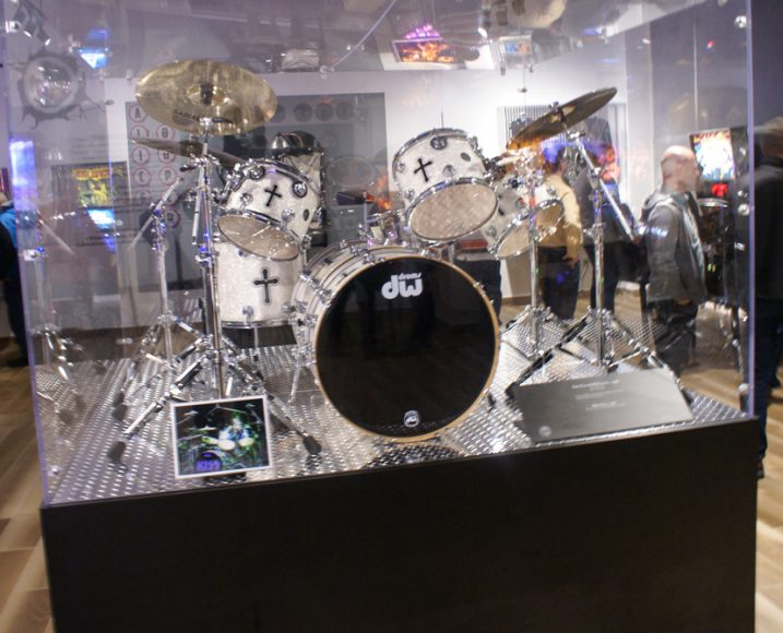 Set of drums from Kiss in the showcase