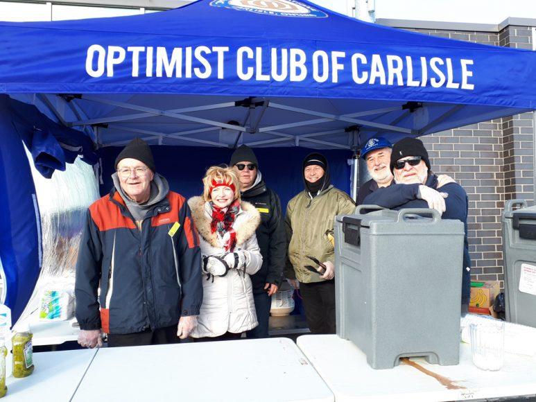Group photo (L-R) - Jeff Partridge, Councillor Judi Partridge, Rob O'Brien, Hugh McCullum, Mike Schmidt and Jeff Lillycrop of the Optimist Club of Carlisle.