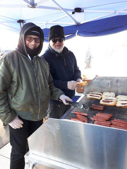 On the grill Optimist President Hugh McCullum and Jeff Lillycrop
